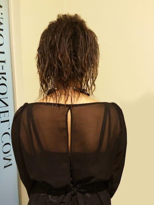 לפני החלקה ומילוי שיער דליל